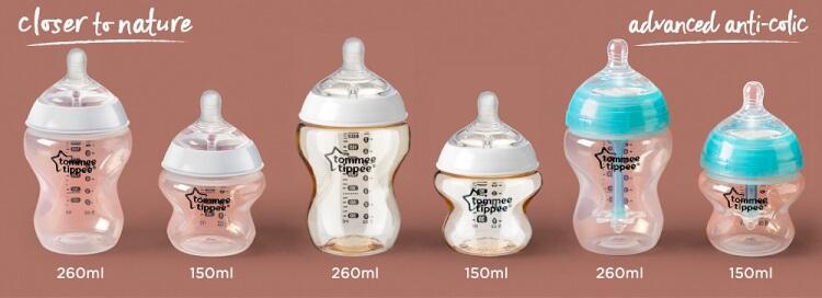 Dung tích của bình sữa có nhiều loại để mẹ lựa chọn