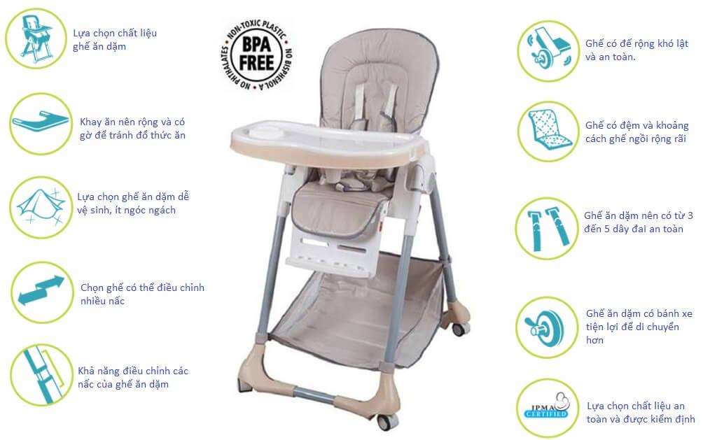 Đảm bảo các tiêu chí lựa chọn ghế ăn dặm an toàn cho bé