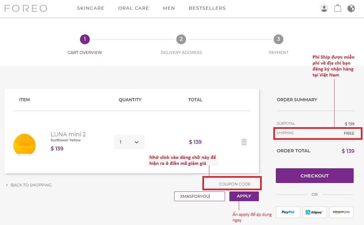 Kiểm tra lại đơn hàng và điền mã giảm giá