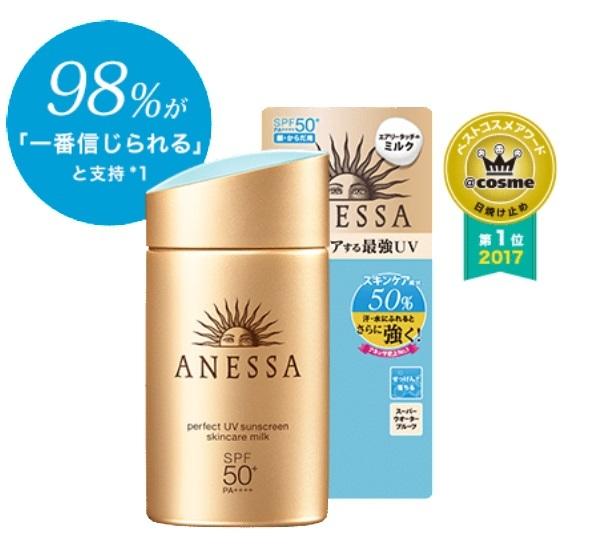 Kem chống nắng Anessa dạng sữa nên không để lại vệt trắng trên da
