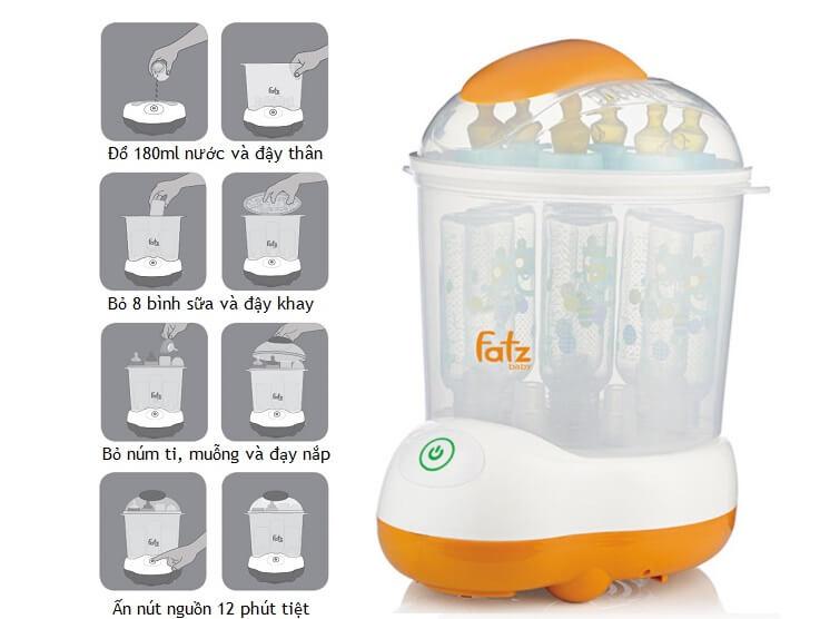 Máy tiệt trùng bình sữa Fatz baby đi kèm với chế độ sấy khô rất tiện lợi