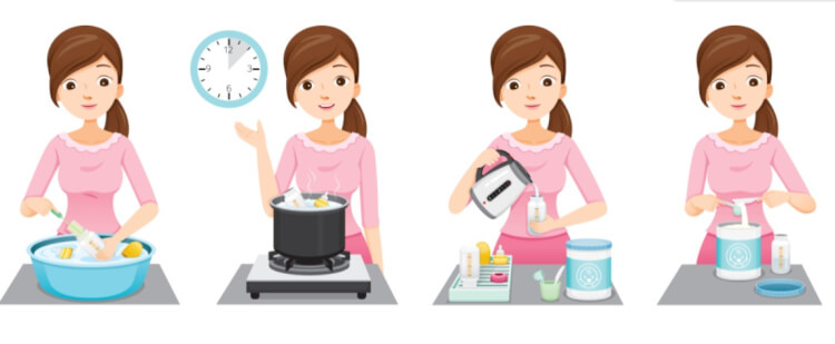 Tiệt trùng bình sữa bằng cách đun sôi là cách các mẹ vẫn thường làm để tiêu diệt vi khuẩn